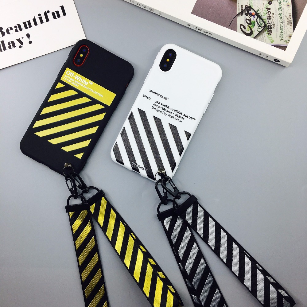 New Arrival Stripe Phone Case Brand Luxury Abloh Kanye West for iphone8 7 7Plus 6 6s Plus tpu silicone Cover