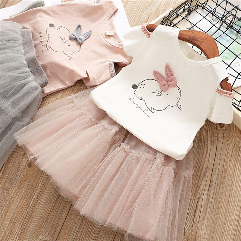 Girls Summer Mini Tutu Dress Baby Girl Cute Cartoon Bunny Set Short Sleeve T-Shirt+Veil Dress 2Pcs Girls Easter Dress 3 8Y girl