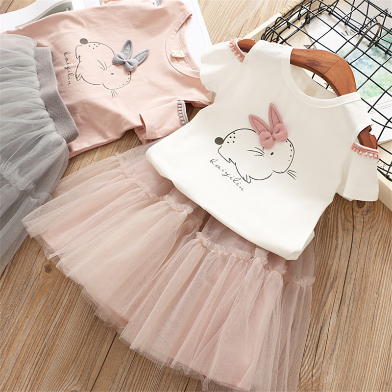 US Easter Toddler Kid Baby Girl Outfit Clothes Bunny Tops T-shirt+Tutu Skirt Set