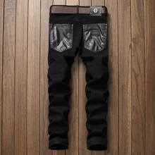 New Arrival Patchwork PU Leather Man Jeans Black Slim Long Trousers