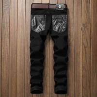 Yeni Varış Patchwork PU Deri Adam Kot Siyah Ince Uzun Pantolon