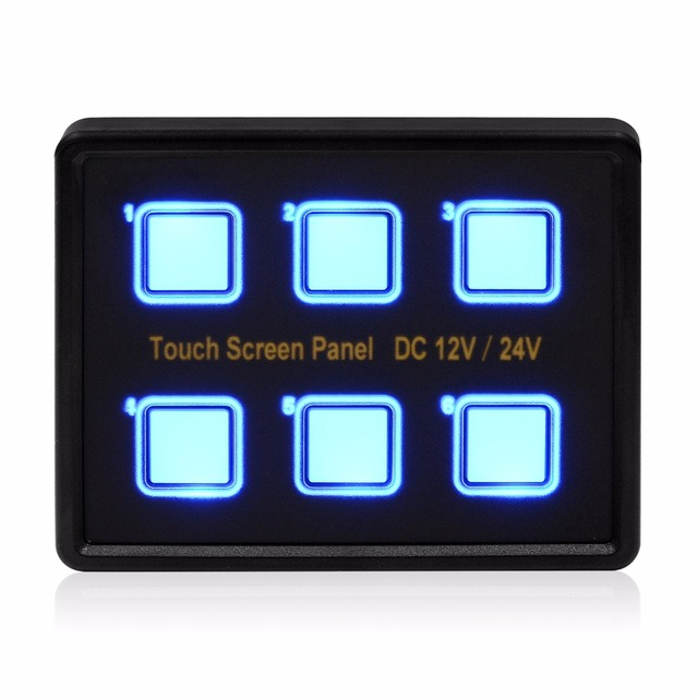 12V/24V 6 Gang LED Switch Panel Slim Touch Control Panel Box for ...