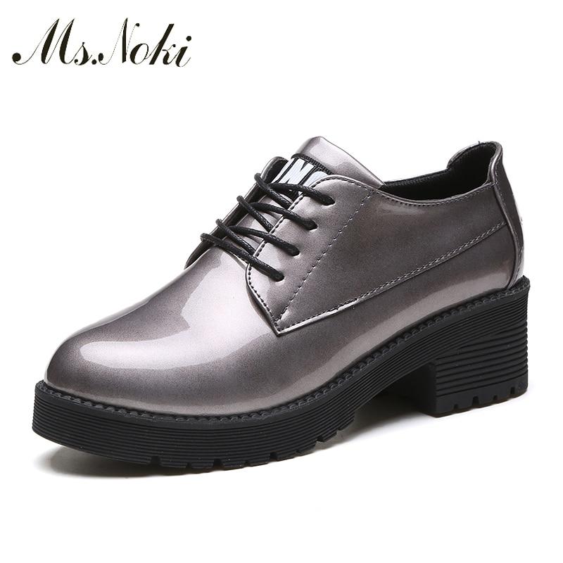 купить Ms.Noki fashion casual Lace-up pointed toe Square heel platform women pumps spring Comfortable shoes women's shoes недорого
