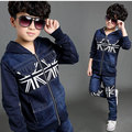 2016 Clearance Sale Boys Winter Denim Sports Suit Brand England Style Kids Union Flag Children Tracksuit Boys Clothing Set, C051