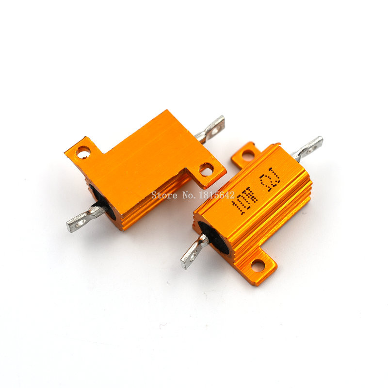 2pPCS RX24 10W Aluminium Housed High Power Resistor Metal Shell Heatsink 1 2 3 4 5 10 20 <font><b>50</b></font> 100 200 1K ohm Multiple Resistance image