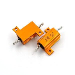 2pPCS RX24 10W Aluminium Housed High Power Resistor Metal Shell Heatsink 1 2 3 4 5 10 20 50 100 200 1K ohm Multiple Resistance(China)