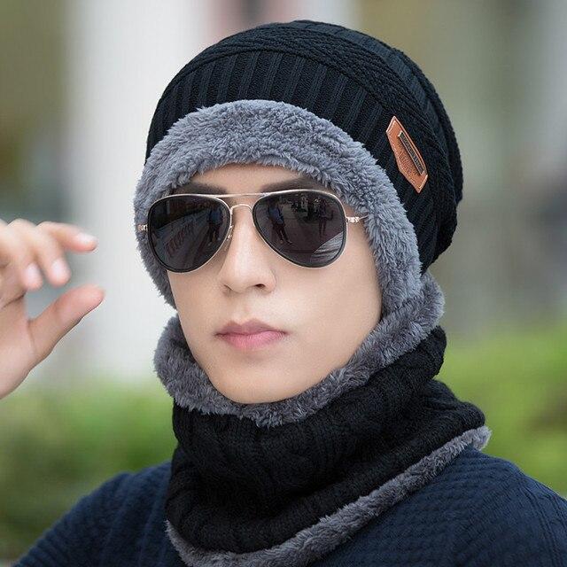 2016 мода шею теплым Зимние Шапки Для Мужчин женщины вязать шарф шапка Вязать Шляпу Капот Шапки Шапочка теплая Зима Руно балаклава