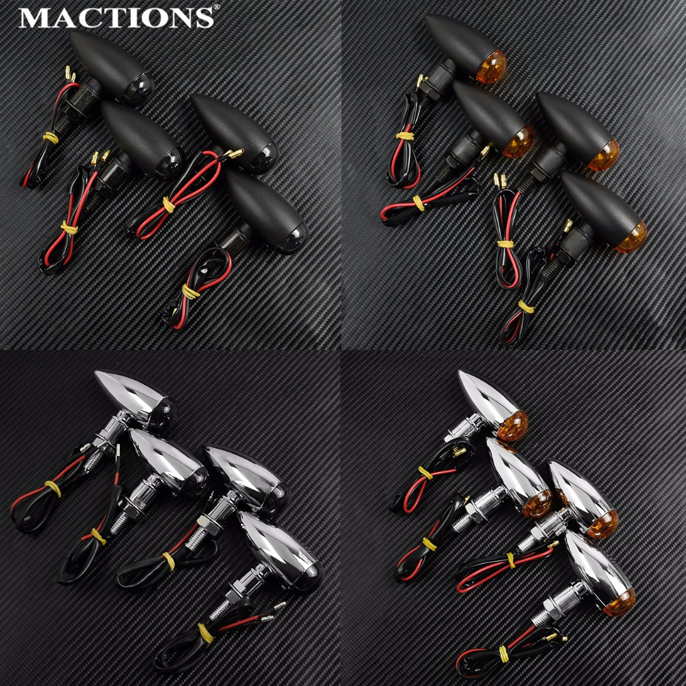 MACTIONS 4Pcs EM Bullet Universal Motorcycle Turn Signals Indicator Light Amber Smoke For Harley Sportster Bobber Mini Chopper
