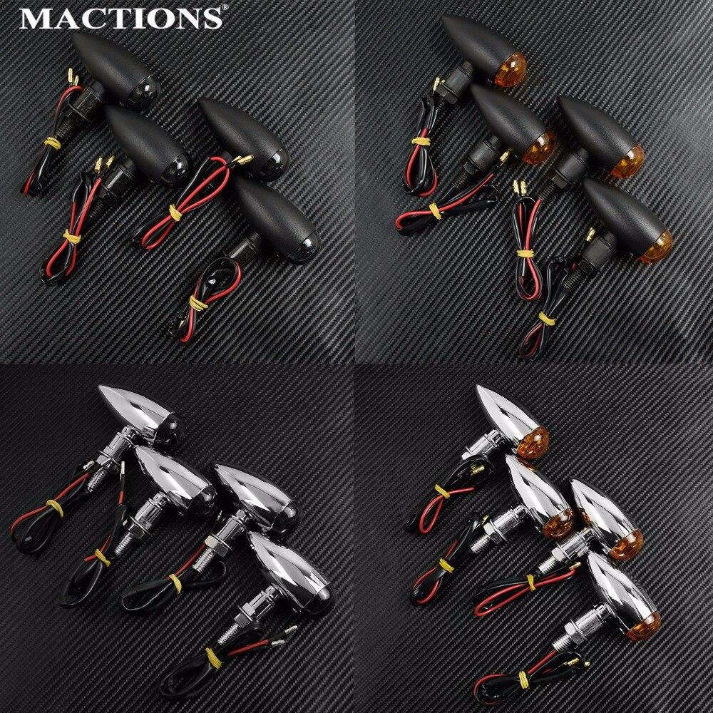 Mactions 4 pçs em bala motocicleta universal sinais de volta luz indicadora âmbar fumaça para harley sportster bobber mini chopper