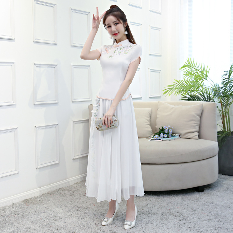 Blanc Chemise Chinois Vêtements Qipao Pc 2018 Pink Ensembles Blouse Femmes Vintage baby Jupe Robe Mandarin Blanc Col Cheongsam Courtes D'été À 2 Manches 0UaRqSn
