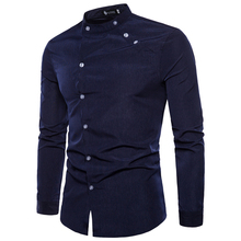 European and American men's fashion tailor-made double door design long-sleeved men's casual travel shirt