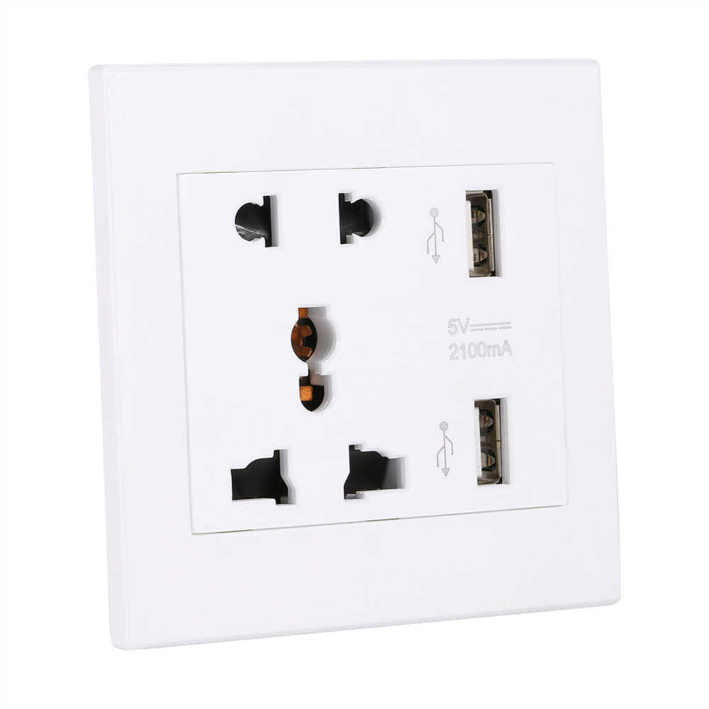 Dual USB Port Wall Charger Station Socket Electric Outlet