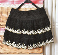 Vintage sweet all-match lace crochet embroidery cutout basic short trousers shorts high waist culottes