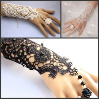 1Pair Free Shipping New Hot Sale Fashion Romantic And Sweet White Lace Wedding Bride Bridal Gloves Ring Bracelet Bridal Gloves