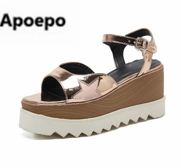 цена на Apopeo women sandals peep toe star leather wedges sandals women Thick bottom platform shoes women summer buckle high heels shoes