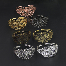 1pcs 63mm Filigree Flowers Bangle Base Open Ball , Vintage 6 Colors Plated Bangle Setting For Jewelry Making Components