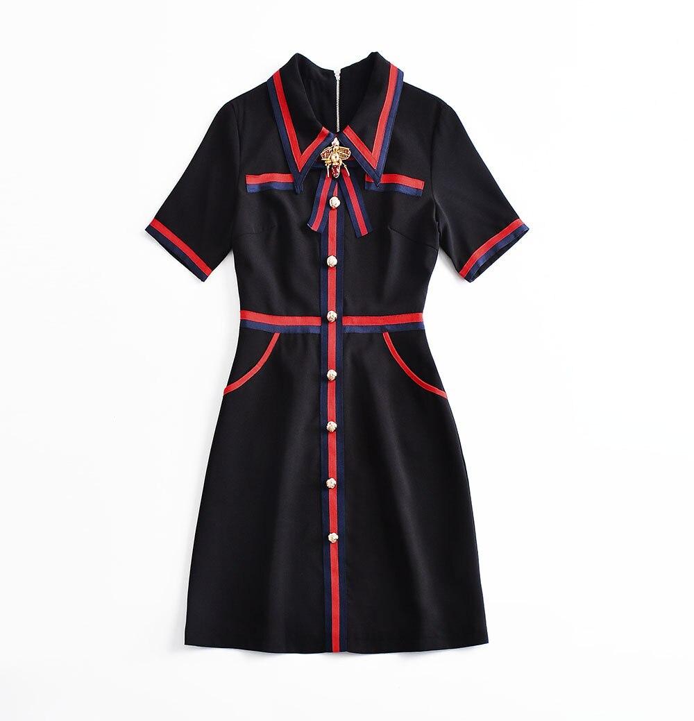 navy Nuove Estate Di Alta Vintage 2018 Black Dress Blue line Vevefhuang Manica Black Ufficio Bow Corta Qualità Donne Elegant Navy A pRBwqXxfS