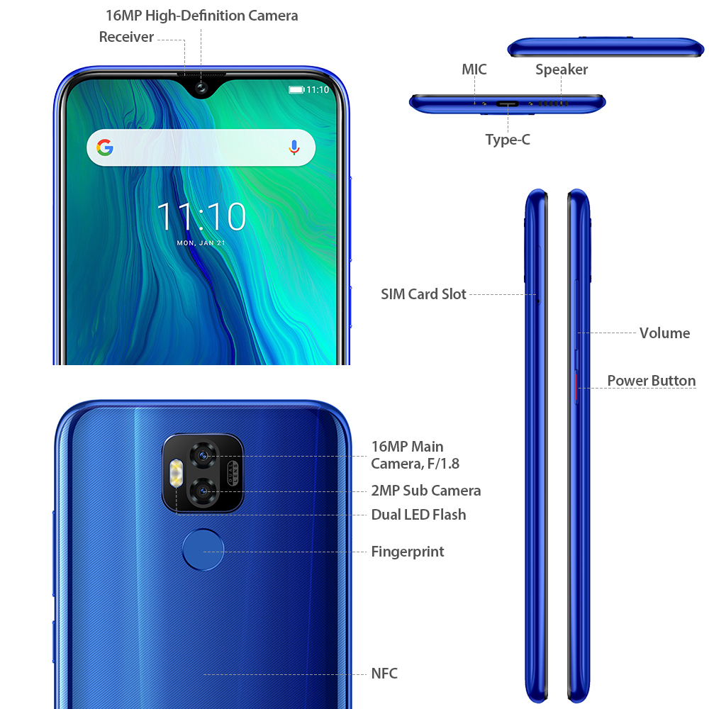 "Image 3 - Ulefone power 6 Smartphone Android 9.0 Helio P35 Octa core 6350mah 6.3"" 4GB 64 GB 16MP face ID NFC 4G LTE Global Mobile Phones-in Cellphones from Cellphones & Telecommunications"