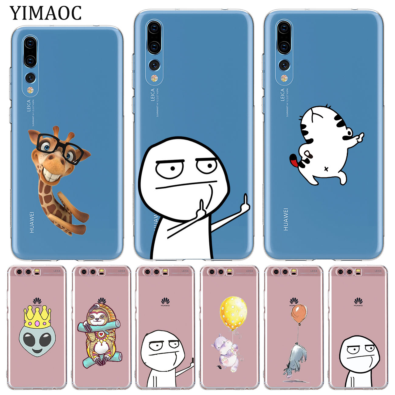 YIMAOC meme face Middle Finger Lovers Soft Silicone Case for Huawei P30 P20 Pro P10 P8 P9 Lite 2017 2016 2015 P smart Z 2019 image