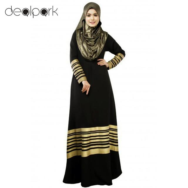 Vintage Dress 2017 Women Muslim Maxi Dress Stripes Zipper Long Sleeves Abaya Kaftan Islamic Robe Long Dress Ropa Mujer