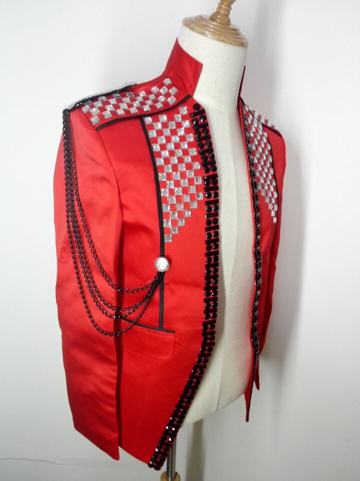 rote dünne männliche Kostümjackeblazer-Manteldiamantsteinstufe - Herrenbekleidung - Foto 4