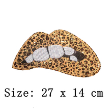 hot deal buy 2pcs/lot large leopard print lips sequined patch design diy sewing accessory decoration applique sexy lips sequined patches