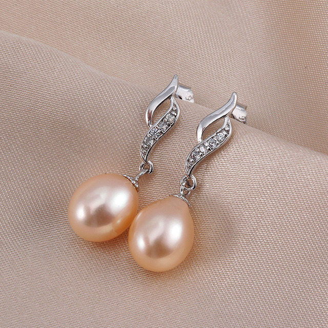 Three color ANGEL TEARS Natural Pearl Earrings Cultured Freshwater Pearls with 925 Silver ,Earring 2016 white/pink/purple pearl