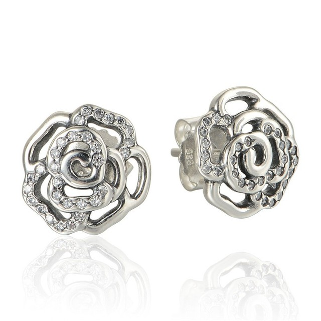 Rose Stud Earrings Charm 100%  Sterling Silver Earrings With CZ Stones DIY Fashion Jewelry For Women Wholesale