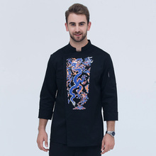 new Chinese style Calico Dragon Chef Jacket  long sleeve professional chefs uniform Hotel Restaurant Kitchen Chef Jacket Cook Cl