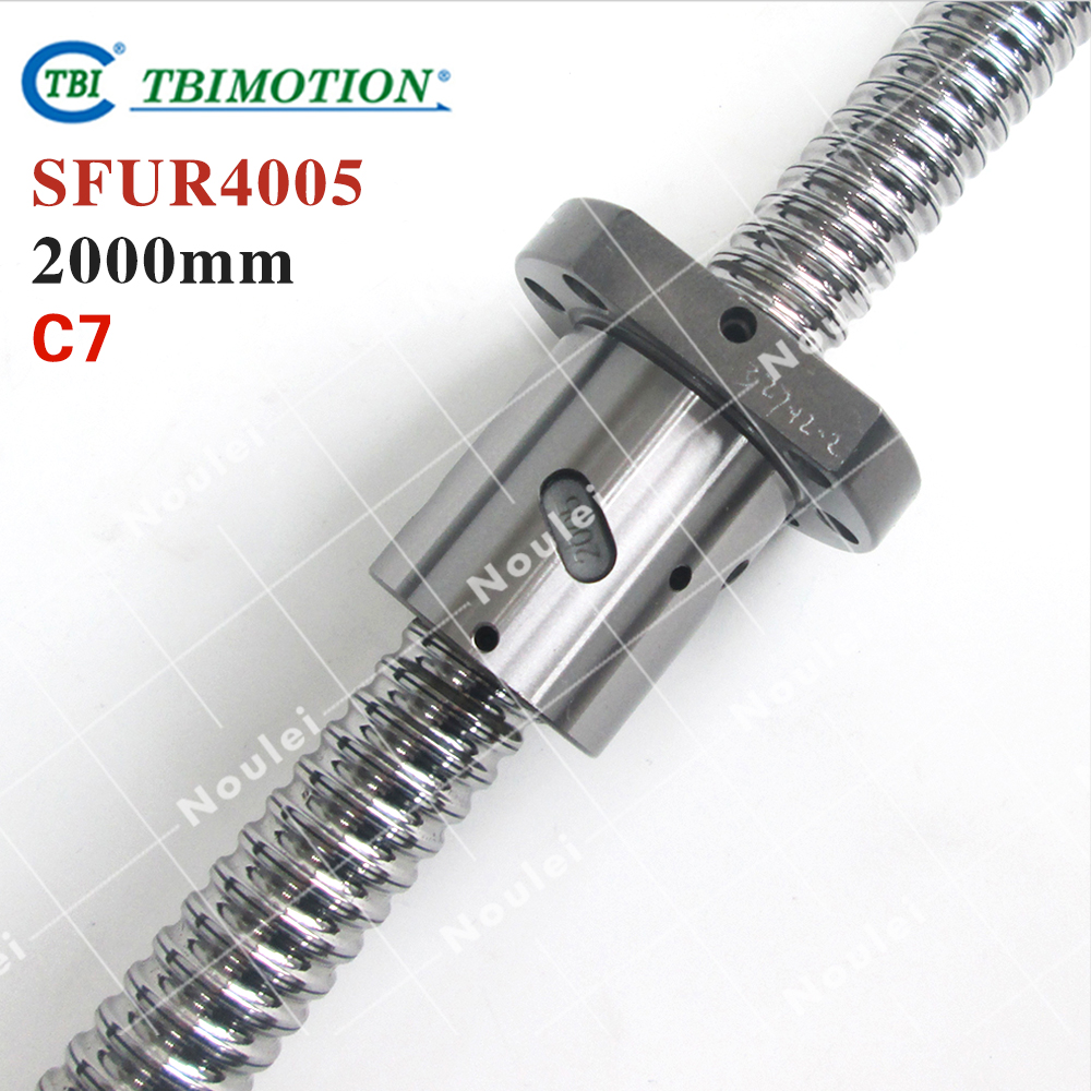 TBI Rolled ballscrew  2000mm SFUR 4005 C7 5mm lead with SFU4005 Ball nut for cnc kit винт tbi sfkr 0802t3d