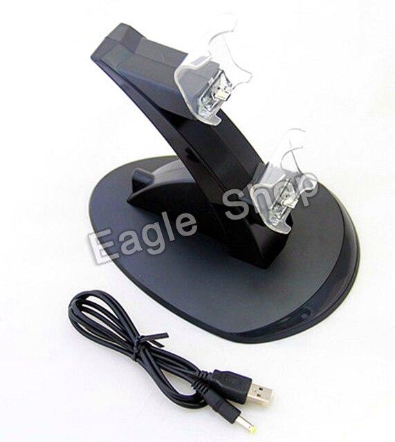 Черный пвх материал двойной зарядное устройство USB зарядка для док-станции подставка для PS4 контроллер для Playstaion 4 зарядное устройство