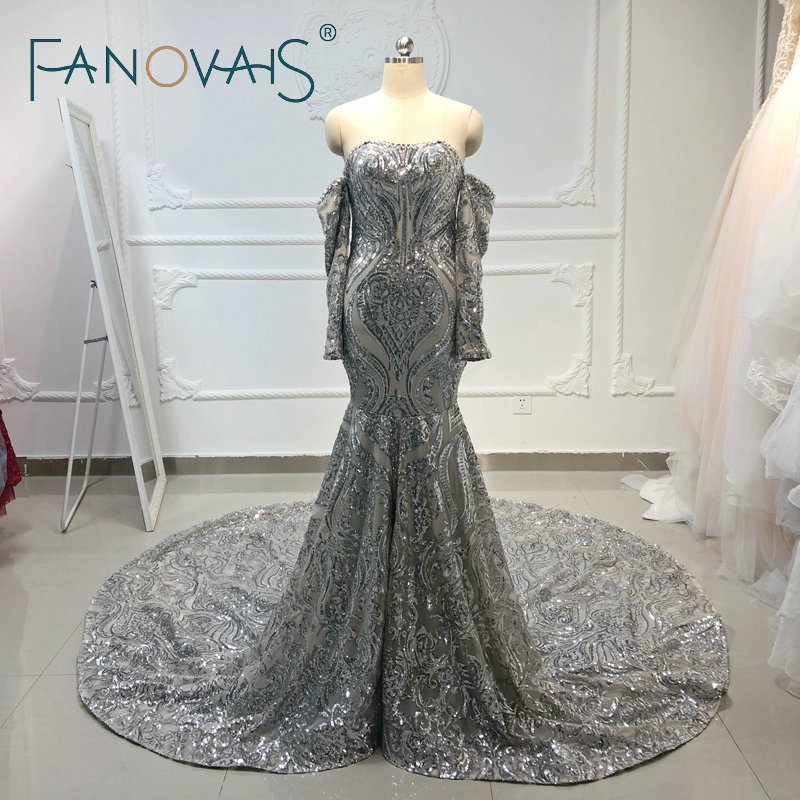 Silver Shinning   Evening     Dresses   with Detachable Long Leeves Sequin Merimaid   Evening   Gowns Prom   Dresses   Vestido De Fiesta