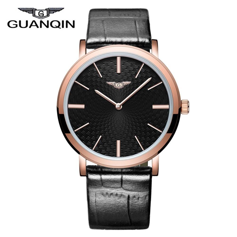 цена на 2016 New Arrival Men Quartz Watches Top Luxury Brand GUANQIN waterproof Thin Wristwatch relogio masculino