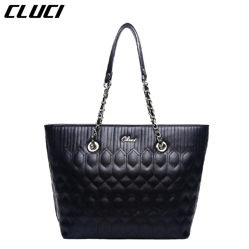 CLUCI Women Bag Top-handle Bags Fashion Black Red Split Leather High Quality Luxury Handbags for Ladies Totes Plaid bolsos muje cluci women genuine leather luxury handbags vintage zipper black red gold purple blue shoulder bag top handle bags neverfull