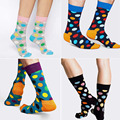 New 2016 Happy Socks Style Colorful Dots Cotton Socks for Men Women Sock Big size EUR 37-43