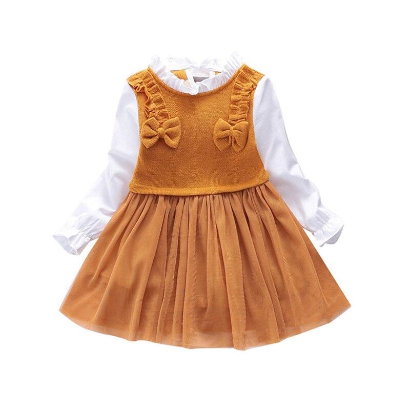 2 3 4 5 6 ano da criança meninas vestido de manga longa primavera outono crianças roupas para a menina tricô malha crianças vestidos princesa
