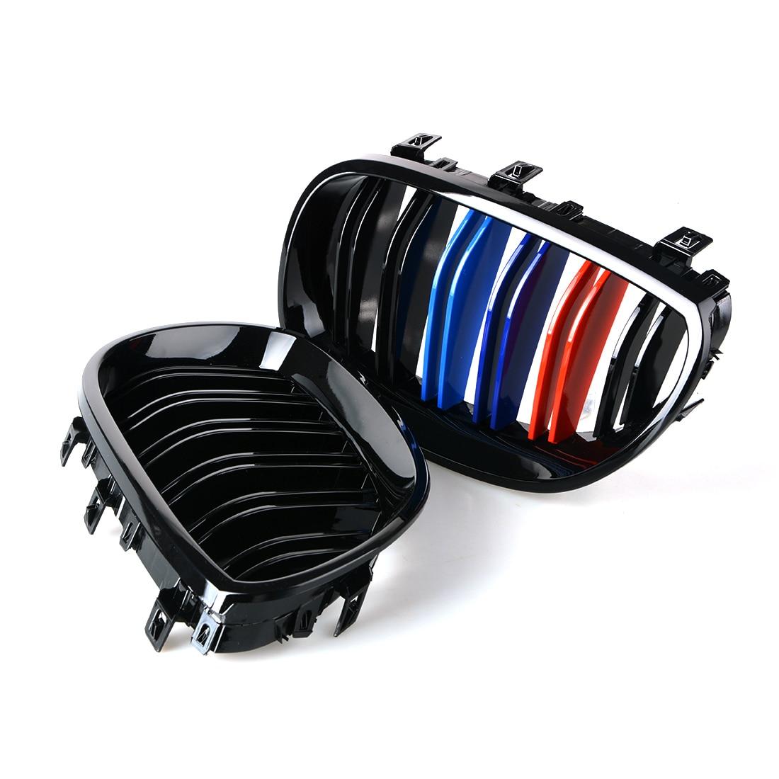 1 paire Gloss 3 couleur fibre de carbone noir M5 Style Auto voiture Style course gril course Grille pour BMW série 5 E60 E61 2003-2009