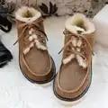 Top Kwaliteit Mode Beckham snowboots voor mannen lace up winter schoenen echt schapenleer natuur wol bont enkel korte laarzen