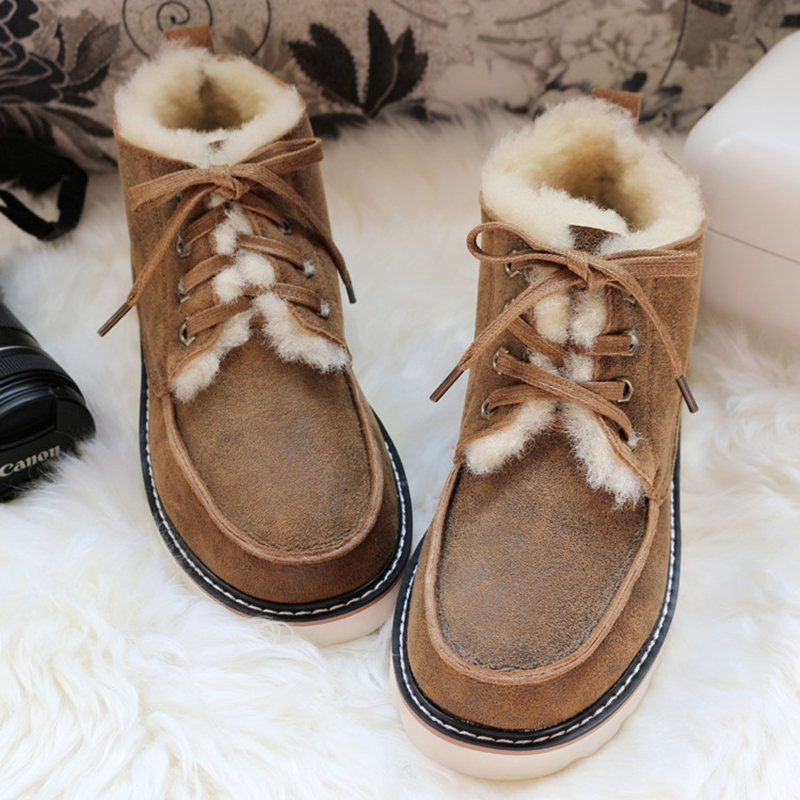Top Quality Fashion Beckham Snow Boots For Men Lace-up Winter Shoes Real Sheepskin Leather Nature Wool Fur Ankle Short Boots