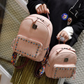vintage casual leather school bags hotsale women clutch ofertas famous designer brand backpack Color shoulder straps and rivets