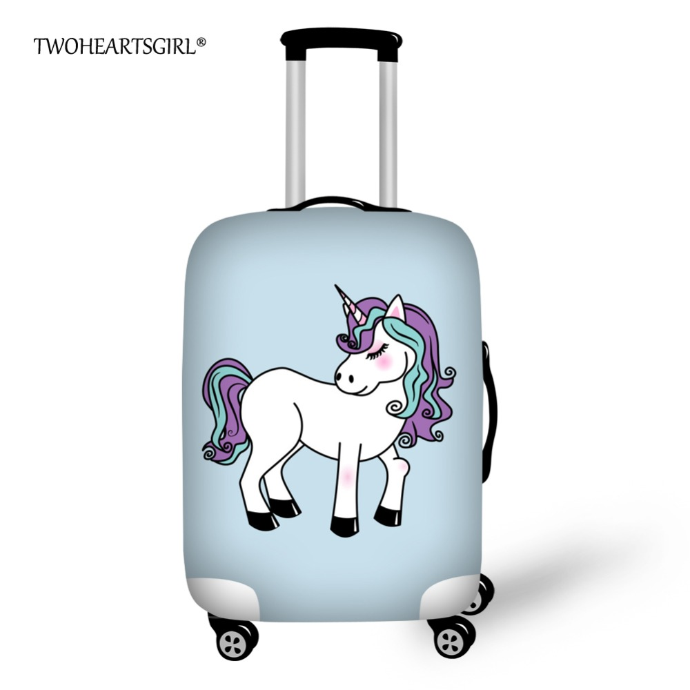 Twoheartsgirl Unicorn Printing Travel Luggage Cover Cartoon Elastic Stretch Protect Dust Cover for 18-30 Inch Suitcase Covers