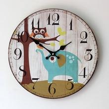 2016 New Arrival Clock Home Furnishing Painted Elephant Owl Good Quality Wood Clock Taobao Selling 0002U цена