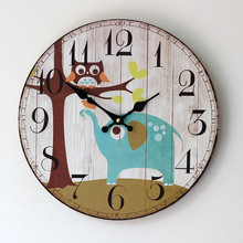 2016 New Arrival Clock Home Furnishing Painted Elephant Owl Good Quality Wood Clock Taobao Selling 0002U стоимость