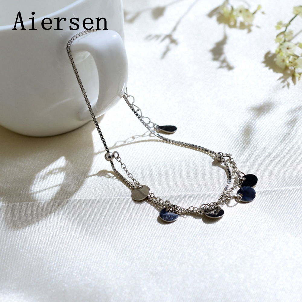 Aiersen S925 Silver Anklet Women Double Layered  Wafer Personality Smooth Chain Leg Bracelet Fine Jewelry Cavigliera Argento 925