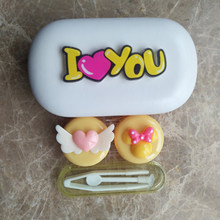 LIUSVENTINA Gift for Girls DIY Resin Cute Flying Love Bow I Love You Hand Made Contact Lens Case Box Container for Color Lenses(China)