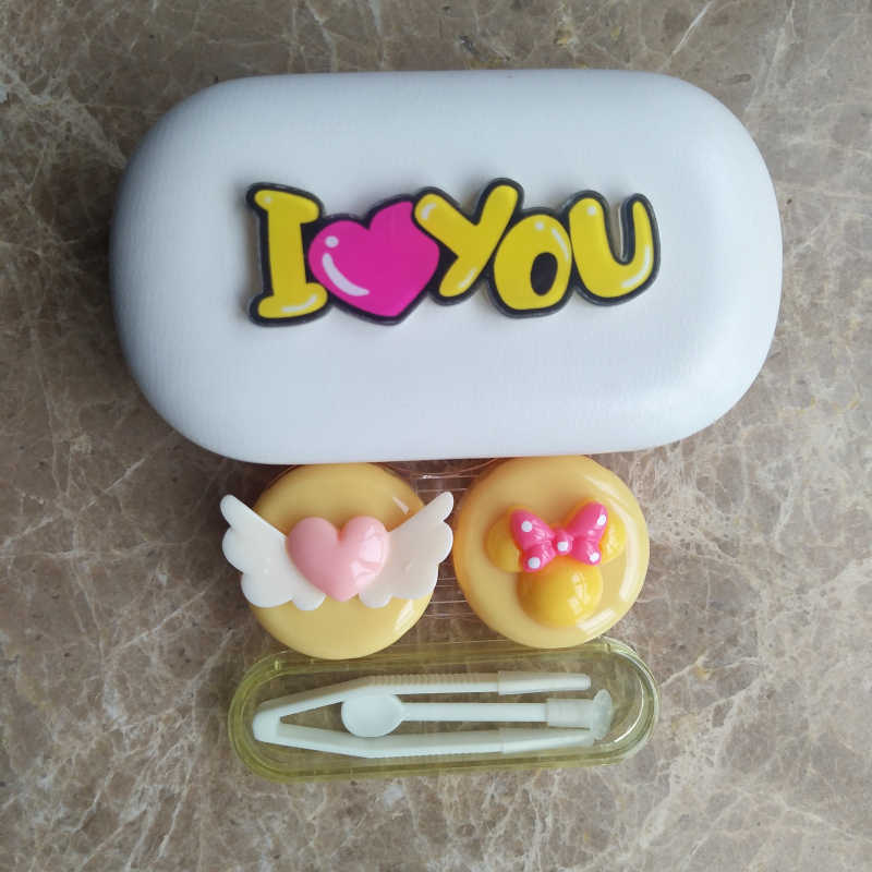 LIUSVENTINA Gift for Girls DIY Resin Cute Flying Love Bow I Love You Hand Made Contact Lens Case Box Container for Color Lenses