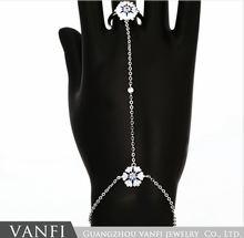 Kfvanfi двойная Снежинка серебряного цвета цепи браслет для
