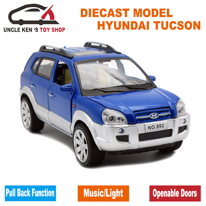Brand New Hyundai Old Tucson Scale Diecast Model Cars, Metal Toys Gift for Children With Openable Door/Pull Back Function