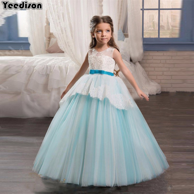 2018 Flower Princess Girls Dress Wedding Party Kids Lace Dresses For Girls Teenage Costumes Cute Children Prom Gown Long Dresses teenage girl party dress children 2016 summer flower lace princess dress junior girls celebration prom gown dresses kids clothes