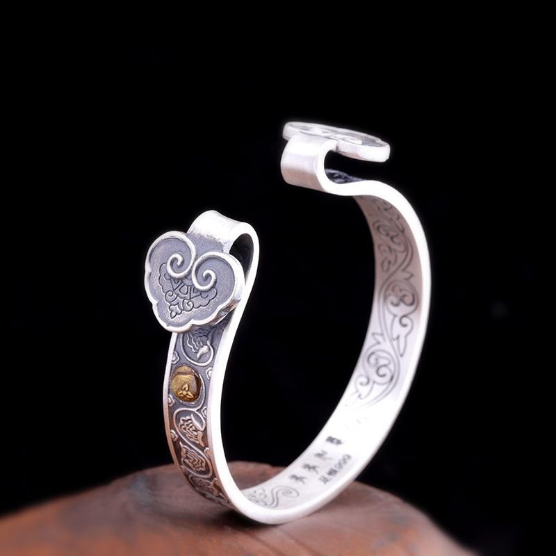 Real Pure 925 Sterling Silver Women Cuff Bracelets Bangle Auspicious Clouds Ruyi Inspirational Jewelry Manchette Bracelet